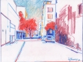 Downtown Bakersfield, colored pencil, 2018